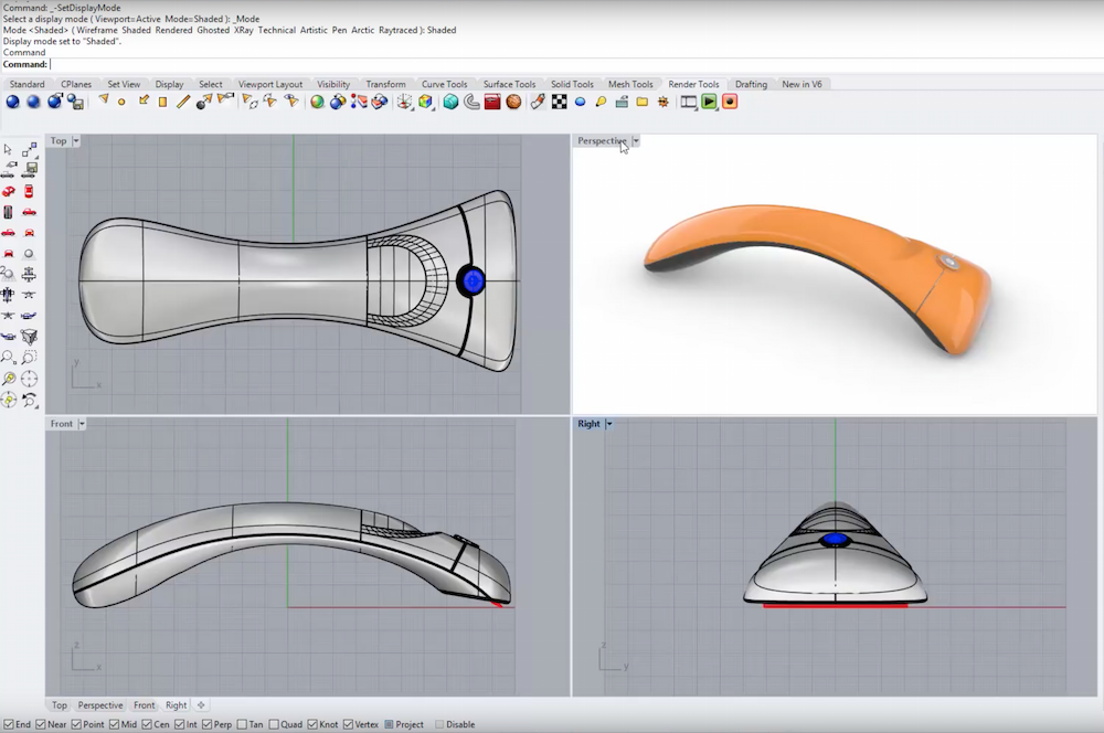 Rhino3d v6 for Windows - Presentation Enhancements | Display Modes